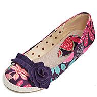 여성 구두 패브릭 여름 가을 컴포트 조명 신발 플랫 플랫 라운드 막상 캐쥬얼 드레스 용 꽃패턴 퍼플 그린