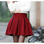 Žene A kroj Ležerne prilike Izlasci Pamuk Suknje - Jednobojni Visoki struk