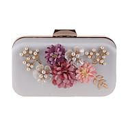 baratos Clutches & Bolsas de Noite-Mulheres Bolsas Poliéster Bolsa de Festa Flor de Cetim Rosa Pálido / Damasco / Bege