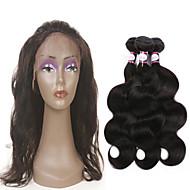 人毛 インディアンヘア 人間の髪編む ウェーブ 前後なし ヘアエクステンション 4個 ブラック