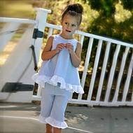 رخيصةأون -مجموعة ملابس قطن بدون كم لون سادة / منقط مناسب للخارج / شاطئ نقطة / شريطة للفتيات طفل صغير