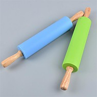 1Pcs  31Cm*4Cm Rolling Pin Home Decoration Kitchen Cooking Tools Wood Handle Silicone Rolling Pins   Random  Color