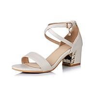 billige -Sandaler-Kunstlæder-Komfort-Damer-Hvid Beige Blå Lys pink-Formelt Fritid-Tyk hæl