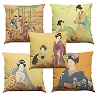"Set of 5 Ancient Japanese Woman Linen Home Office Sofa  Decorative Cushion Covers(18""*18"")"