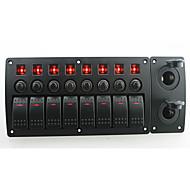iztoss červená LED DC12 / 24V 8 gang on-off kolébkový přepínač zakřivený panel 2 ks zásuvky a vypínače s popisky nálepky pro loď námořní