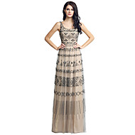 Sheath / Column Scalloped Floor Length Tulle Formal Evening Dress with Beading by Sarahbridal