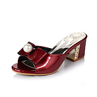 cheap Women's Sandals-Women's Patent Leather Spring / Summer Comfort Sandals Walking Shoes Chunky Heel Open Toe Buckle Red / Blue / Pink