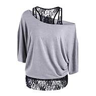 Γυναικεία T-shirt Εξόδου Εκλεπτυσμένο Μονόχρωμο / Patchwork Ώμοι Έξω Φαρδιά Μαύρο L / Δαντέλα