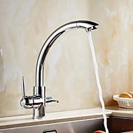 halpa -Nykyaikainen Art Deco/Retro Moderni Standard nokka Pesuallas Pyörivä Keraaminen venttiili Kaksi kahvaa yksi reikä Kromi , Kitchen Faucet