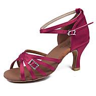 baratos Sapatilhas de Dança-Mulheres Sapatos de Dança Latina Tecido Sandália / Salto Presilha Salto Cubano Personalizável Sapatos de Dança Fúcsia / Marron / Azul