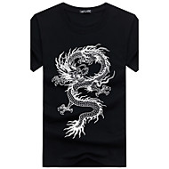 Men's Sports Basic / Chinoiserie Plus Size Cotton Slim T-shirt - Animal Dragon, Print Round Neck Black XXXL / Short Sleeve / Summer