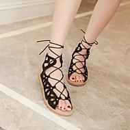 baratos Sapatos Femininos-Mulheres Com Laço Microfibra Gladiador Sandálias Sem Salto Preto / Prata