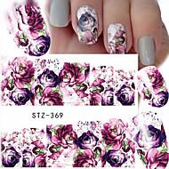 10pcs/set Hot Sale Romantic Style Nail Art Water Transfer Decals Beautiful Flower Design Nail Beauty Sticker DIY Beauty Decals STZ-369