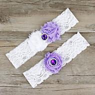 billige -Chiffon Blondelukning Satin Mode Bryllup Garter  -  Blonde Blomst Strømpebånd