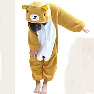 Pijama Kigurumi Urso Pijama Macacão Pijamas Ocasiões Especiais Flanela Tosão Castanho Cosplay Para Criança Pijamas Animais desenho animado