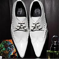 tanie Small Size Shoes-Męskie Skóra Wiosna / Jesień / Zima Comfort Oksfordki White