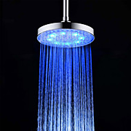 cheap Shower Heads-8 Inch A Grade ABS Chrome Finish Round  3 Colors LED Rain Shower Head - Silver