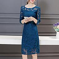 Damer Simpel I-byen-tøj Plusstørrelser Skede Kjole Trykt mønster,Rund hals Over knæet 3/4 ærmelængde Polyester Sommer Alm. taljede