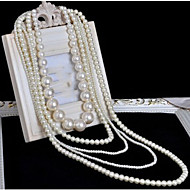 cheap -Women's Long Layered Necklace Pearl Strands Long Necklace Pearl Ladies Bridal Multi Layer Long White Necklace Jewelry 1pc For Wedding Party Special Occasion Birthday Gift / Pearl Necklace