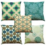 tanie Zestawy poduszki-5 szt Bielizna Naturalne / ekologiczne Poszewka na poduszkę Pokrywa Pillow, Jendolity kolor Kwiaty Pled Textured Na co dzień Styl plażowy