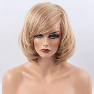 Vrouw Human Hair Capless Pruiken Medium Auburn / Bleach Blonde Kort Natuurlijk golvend Bobkapsel Met pony Zijdeel
