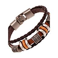 Dames Unisex Meerlaags Lederen armbanden - Leder Vrienden Dames, Vintage, Meerlaags Armbanden Sieraden Bruin Voor Vuosipäivä Lahja mielitietty