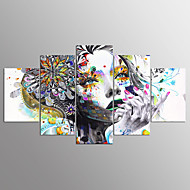 cheap Prints-Stretched Canvas Print Abstract Portrait Modern, Five Panels Canvas Any Shape Print Wall Decor Home Decoration