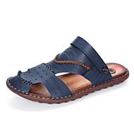 Sandály-Kůže-Pohodlné lehké Soles-Pánské-Hnědá Modrá Khaki-Outdoor Běžné-Plochá podrážka