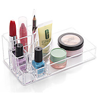 cheap Storage & Organization-Acrylic Transparent Portable Quadrate Solid Cosmetics Makeup Storage Stand Makeup Brush Pot Cosmetic Organizer for Lipstick Eyeliner Nail Polish