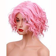 Vrouw Synthetische pruiken Zonder kap Kort Golvend Roze Natuurlijke pruik Kostuumpruiken
