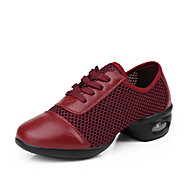 Women's Dance Shoes Leather Synthetic Dance Sneakers Sneakers Low Heel Performance Drak Red Black White
