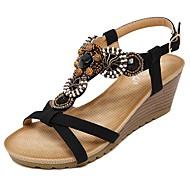 baratos Sapatos Femininos-Mulheres Sapatos Microfibra Primavera / Verão Conforto / Solados com Luzes Sandálias Caminhada Salto Plataforma Ponta Redonda Miçangas / Presilha Preto / Amêndoa / Calcanhares