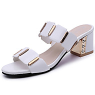 Women's Sandals Comfort PU Summer Casual Dress Comfort Plaid Chunky Heel White Black 2in-2 3/4in