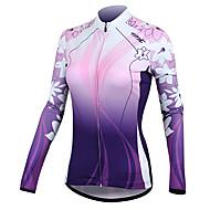 voordelige Sport Buitenshuis Opruiming-SANTIC Dames Lange mouw Wielrenshirt - Paars Flora / Botanisch Fietsen Shirt Jack, Houd Warm, Sneldrogend, Ultra-Violetbestendig
