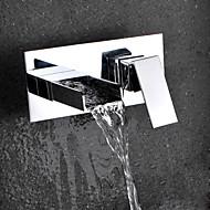 Modern Muurbevestigd Waterval with  Keramische ventiel Single Handle twee gaten for  Chroom , Wastafel kraan