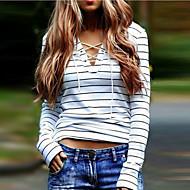女性用 お出かけ - フロントクロス Tシャツ 活発的 ストリートファッション ストライプ