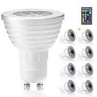 3W E14 GU10 GX5.3 E27 LED Spotlight MR16 1 Integrate LED 300 lm RGB K Decorative Dimmable Remote-Controlled AC 85-265 V 8pcs