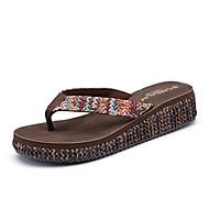 baratos Sapatos Femininos-Feminino Sapatos Couro Ecológico Verão Solados com Luzes Chinelos e flip-flops Anabela Ponta Redonda Flor Para Casual Bege Azul Escuro