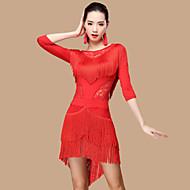 Λάτιν Χοροί Φορέματα Γυναικεία Επίδοση Πολυεστέρας / Δαντέλα / Mohair Δαντέλα / Φούντα 3/4 Μήκος Μανικιού Ψηλό Φόρεμα / Κοντά Παντελονάκια