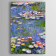Hand-Painted  Waterlilies by Monet Oil Painting With Stretcher For Home Decoration Ready to Hang