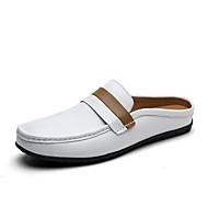 Pánské Sandály Pohodlné Kůže Léto Podzim Outdoor Běžné Atletika Pletený řemínek Plochá podrážka Bílá Hnědá Plochý