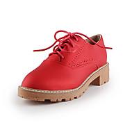 Dames Sneakers Comfortabel Microvezel Lente Causaal Comfortabel Veters Blokhak Zwart Zilver Rood Roze 12 cm en hoger
