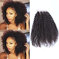 Afro Kinky Curly Lace Closure 4X4 Free/Middle/Three Part Mongolian Non-remy Human Hair Natural Black Color Bleached Knots