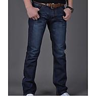 Masculino Simples Cintura Média Micro-Elástica Jeans Calças,Solto Sólido