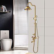 アンティーク アールデコ調/レトロ風 伝統風 バスタブとシャワー レインシャワー 組み合わせ式 ハンドシャワーは含まれている セラミックバルブ 二つ 3つのハンドル二つの穴 Ti-PVD , シャワー水栓