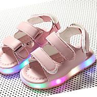 女の子 靴 リネン 夏 赤ちゃん用靴 ライトアップシューズ ルミナス靴 サンダル 面ファスナー LED のために スポーツ カジュアル ホワイト ブラック ピンク カーキ色