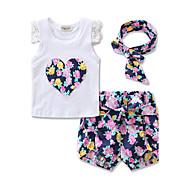 Baby Pige Blomster / Blonde / Rosette Sport Blomstret Trykt mønster Kortærmet Bomuld Tøjsæt