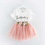 Pige Tøjsæt Daglig I-byen-tøj Blomstret Patchwork, Bomuld Polyester Sommer Kortærmet Blomster Blonde Lyserød Lysegrøn
