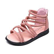 baratos Sapatos de Menina-Para Meninas Sandálias Conforto Gladiador Courino Verão Casual Festas & Noite Ziper Rasteiro Preto Marron Verde Rosa claro Rasteiro