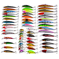 cheap Fishing-56 pcs Minnow Fishing Lures Lure Packs Minnow Hard Bait g / Ounce mm inch, Plastic Bait Casting